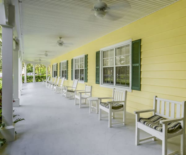 Outdoor patio at Arbor Oaks at Greenacres in Greenacres, Florida