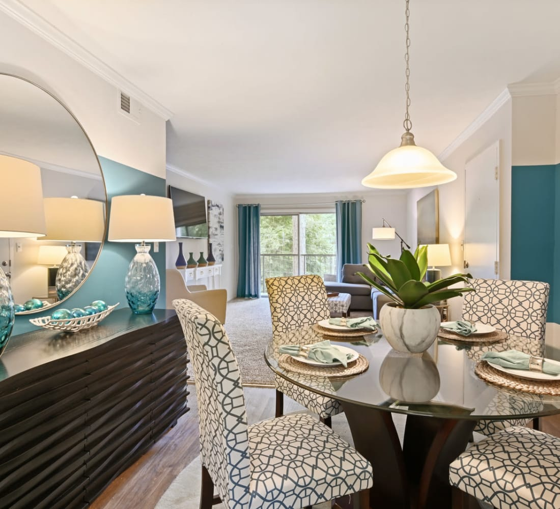 An apartment dining room at Crest at Riverside in Roswell, Georgia
