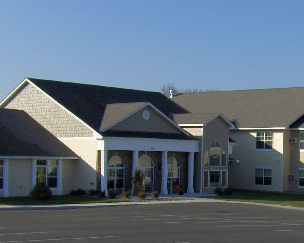 View of the main building and entrance at Traditions of Owatonna in Owatonna, Minnesota.