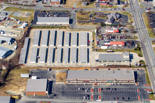 Arial view of large storage facility at Cardinal Self Storage - Burlington in Burlington, North Carolina