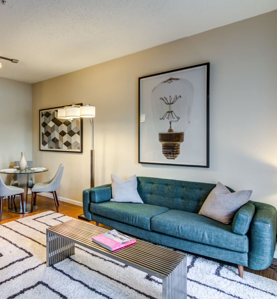 Open-concept living area in a model home at Sofi Parc Grove in Stamford, Connecticut