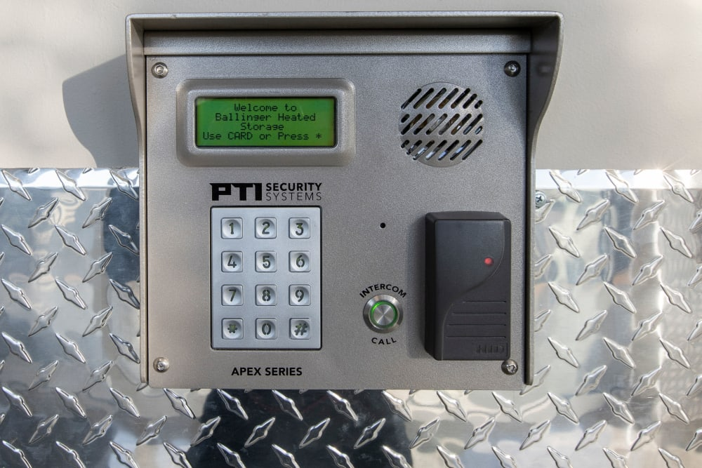 Digital pin code controls access into building at Ballinger Heated Storage in Shoreline, Washington