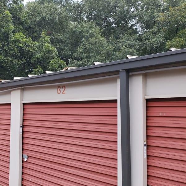 Red storage unit doors at StayLock Storage in Athens, Georgia