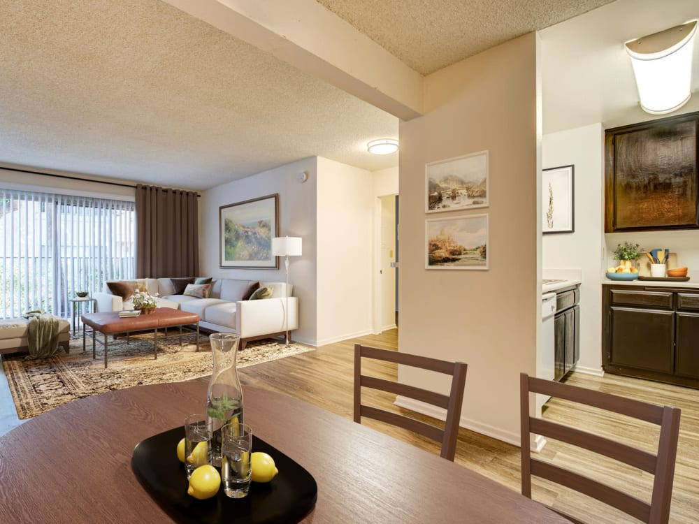 Spacious open-concept living areas in a model two bedroom home at Village Pointe in Northridge, California