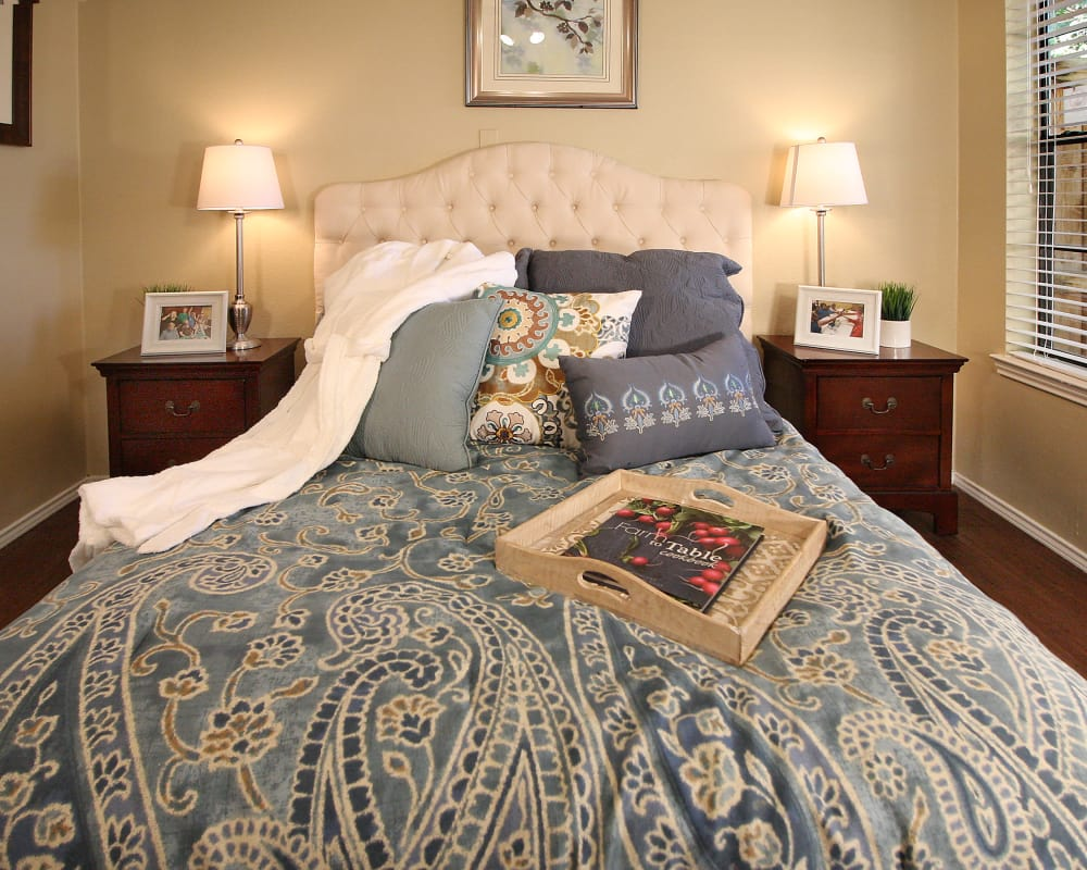 Well lit bedroom at West Fork Village in Irving, Texas
