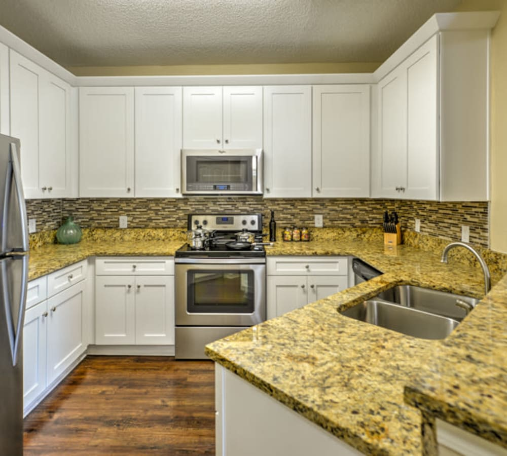 Kitchen with stainless-steel appliances at Ocean Park of Ponte Vedra in Jacksonville Beach, Florida