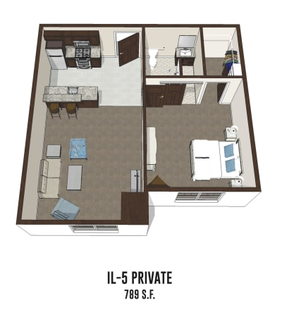 Independent living private room 5 is 789 square feet at New Albany in New Albany, Ohio.