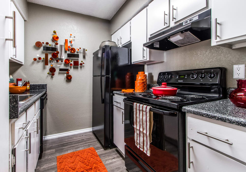 Modern kitchen at Sausalito Apartments in College Station, Texas
