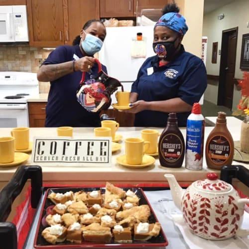 2 team members making deserts at Oxford Glen Memory Care at Grand Prairie in Grand Prairie, Texas