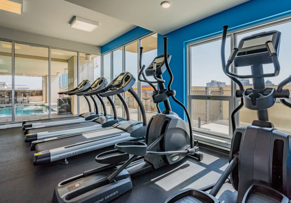 Community fitness center at 21 Rio in Austin, Texas