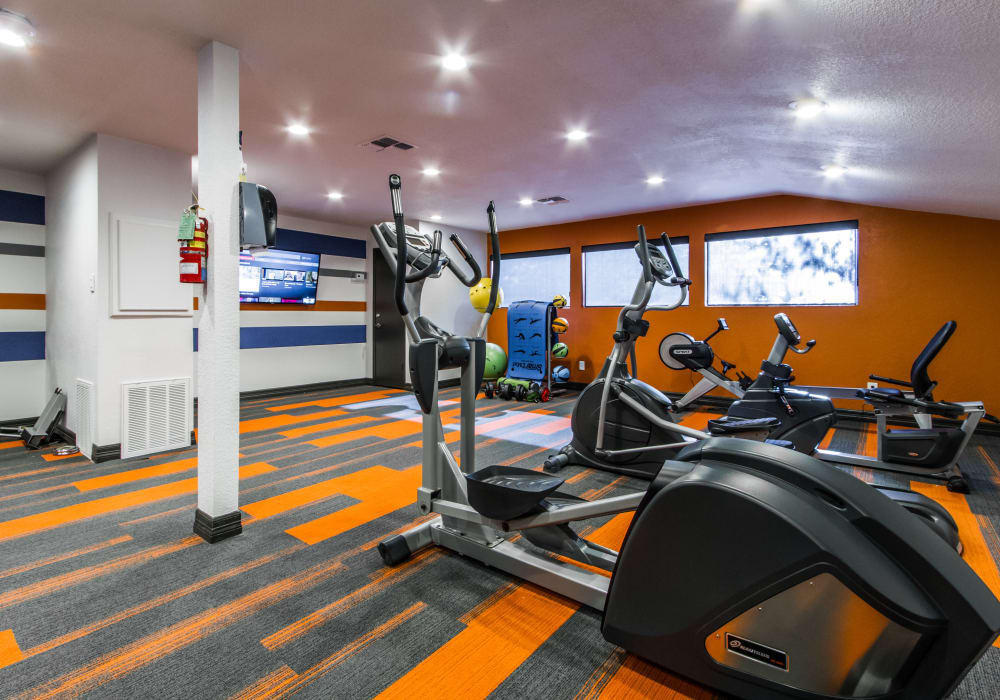 Fitness center at Sausalito Apartments in College Station, Texas