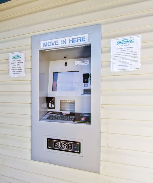 The kiosk at Global Self Storage in Summerville, South Carolina