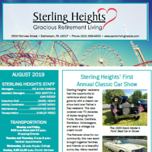 August Sterling Heights Gracious Retirement Living newsletter