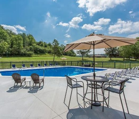 Poolside at Steeplechase Apartments in Camillus, New York