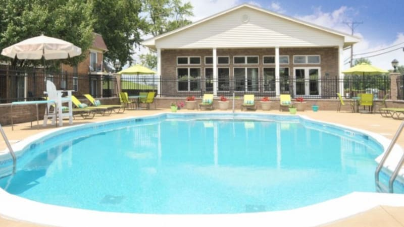 A large swimming pool at Tanglewood Apartments in Louisville, Kentucky