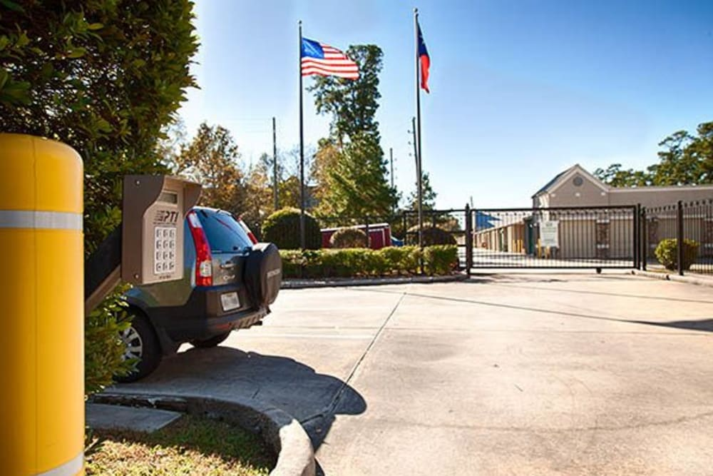 Gated and secure entry access at Metro Self Storage in Kingwood, Texas