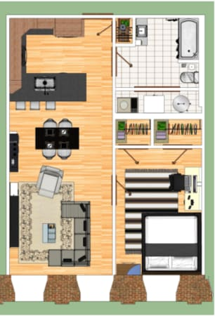 1 Bedroom with 1 or 1.5 Bath  700 – 1355 Sq. Ft.  Loft option available  Starting at $1026*