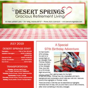 JulyDesert Springs Gracious Retirement Living Newsletter