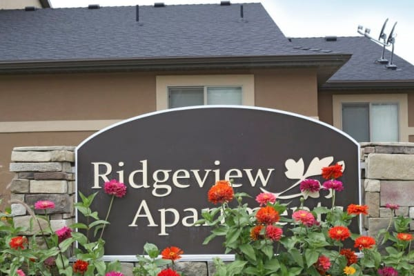 Front sign at Ridgeview Apartments