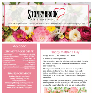 May Stoneybrook Assisted Living newsletter
