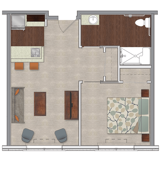One bedroom assisted living apartment at Stonecrest at Burlington Creek