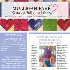 February Mulligan Park Gracious Retirement Living newsletter