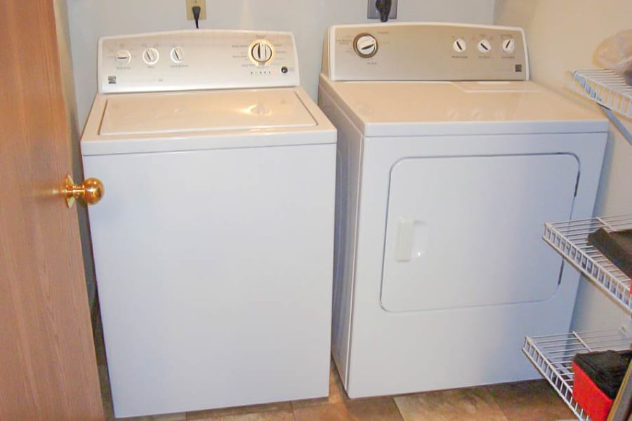 White washer and dryer at Regency Heights in Iowa City, Iowa