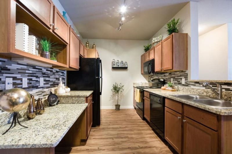 Light wood style kitchen cabinets with black appliances in the kitchen at Verandas at Alamo Ranch in San Antonio, Texas