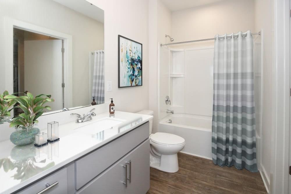 Model bathroom at 300 Optimist Park in Charlotte, North Carolina
