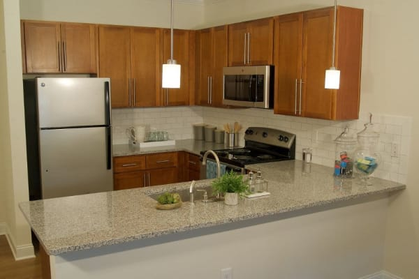 Fully equipped kitchen at Encore North in Greensboro, North Carolina