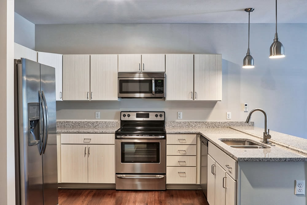 Stainless steel appliance at Village Heights Senior Apartments in Fairport, New York