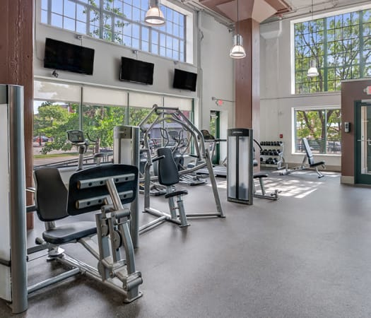 State-of-the-art fitness center at The Archer in Cleveland, Ohio