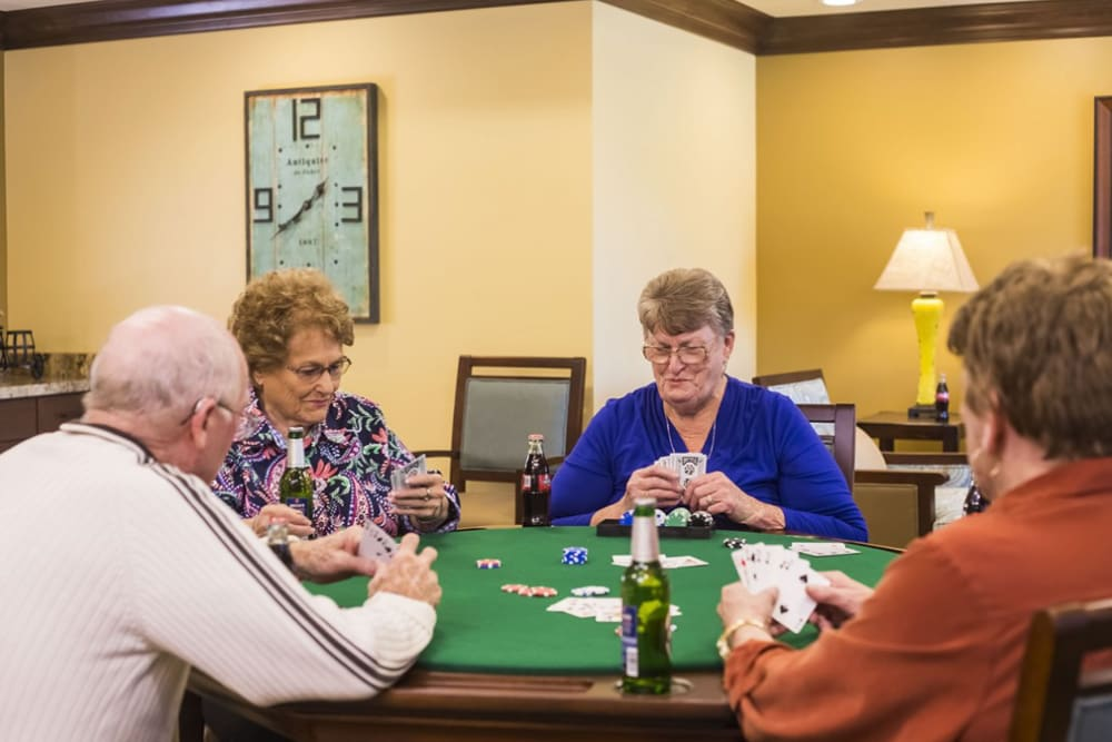 Residents playing a game at The Pointe at Summit Hills in Bakersfield, California.