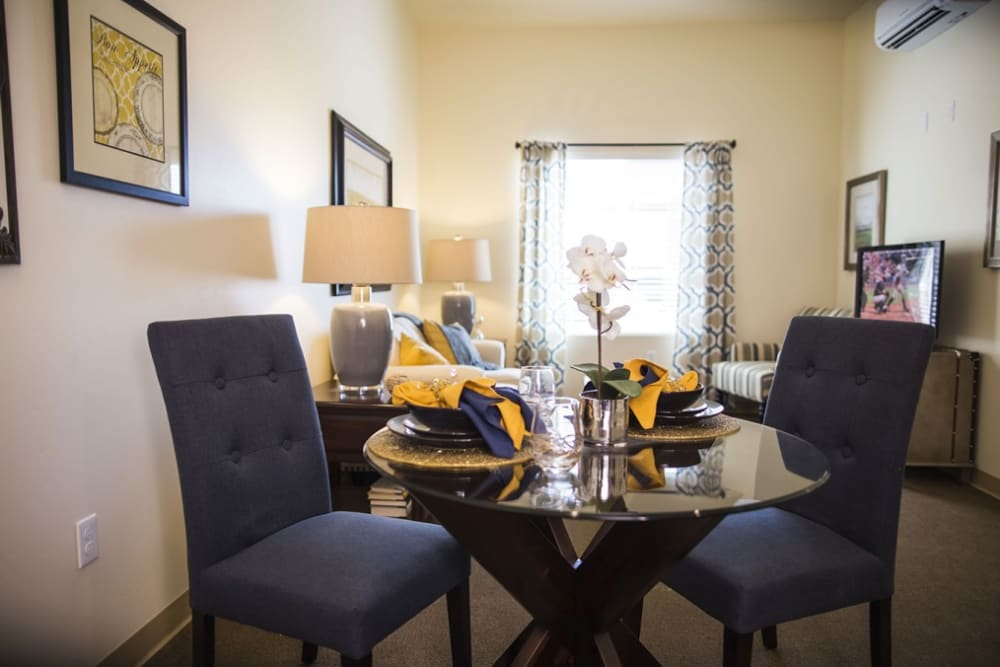 Resident dining area in their apartment at The Pointe at Summit Hills in Bakersfield, California.