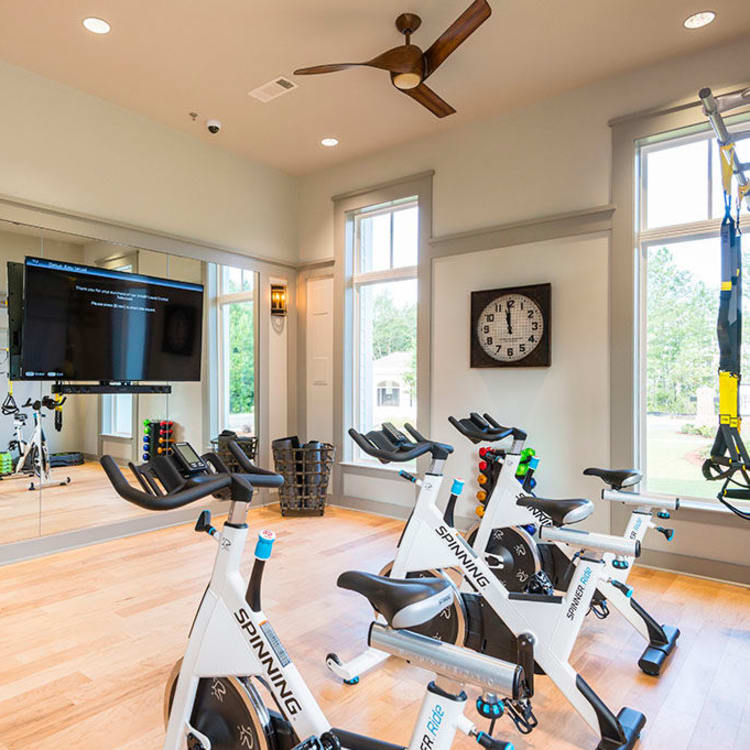 The fitness center at The Passage Apartments provides residents all the equipment they need to stay fit.
