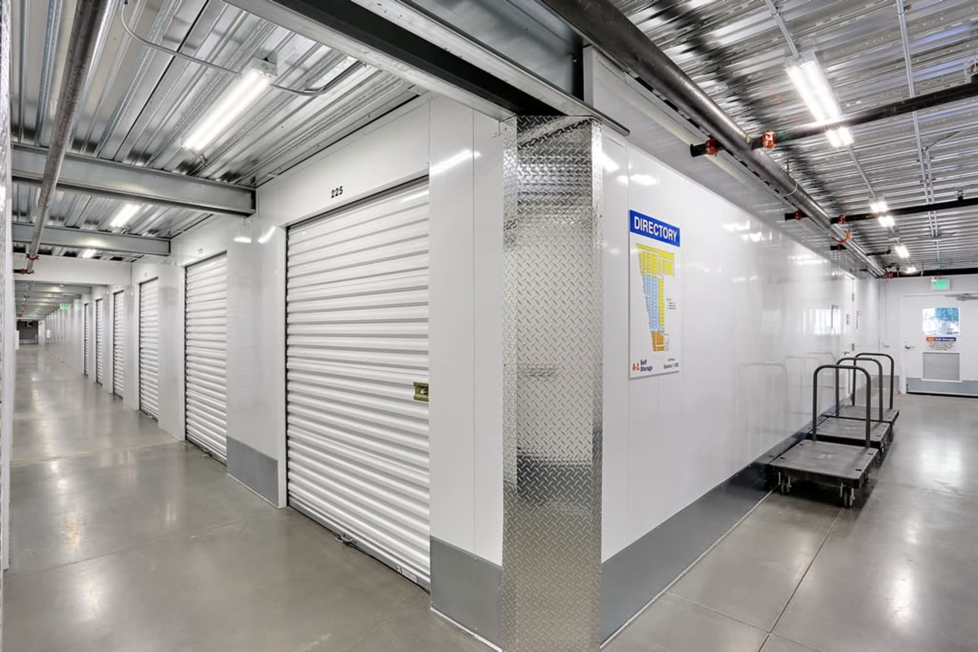 Interior storage units at A-1 Self Storage in San Diego, California