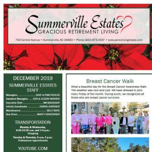 December Summerville Estates Gracious Retirement Living newsletter