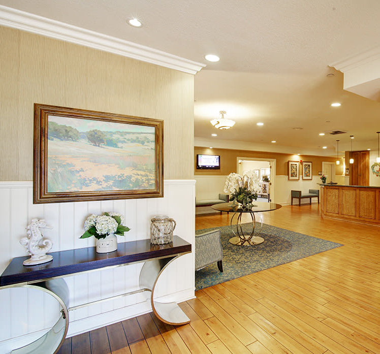 Spacious lobby area at Huntington Terrace in Huntington Beach, California