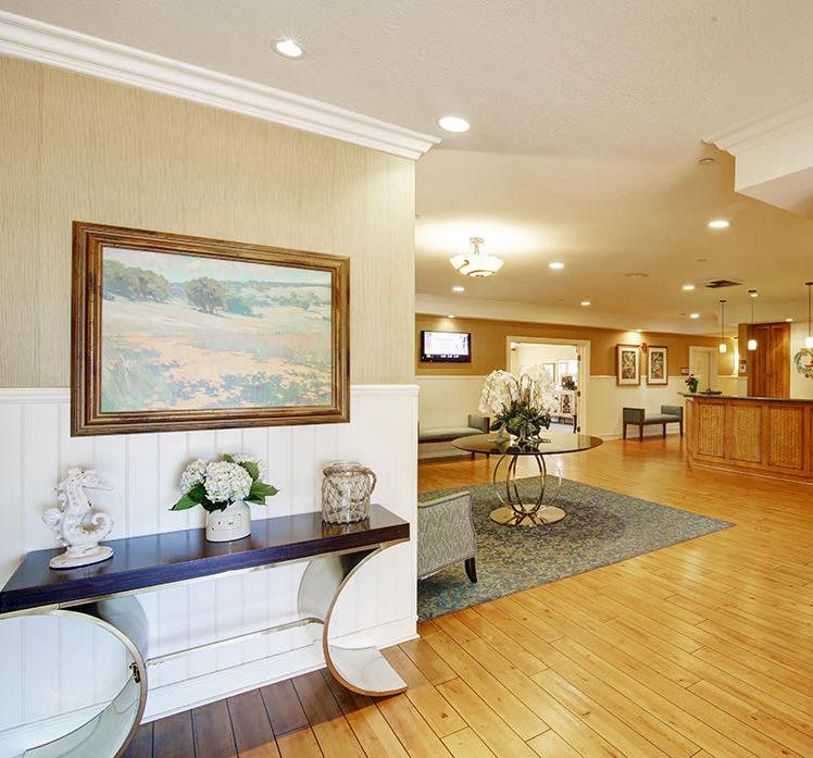 Spacious lobby area at Huntington Terrace in Huntington Beach, California