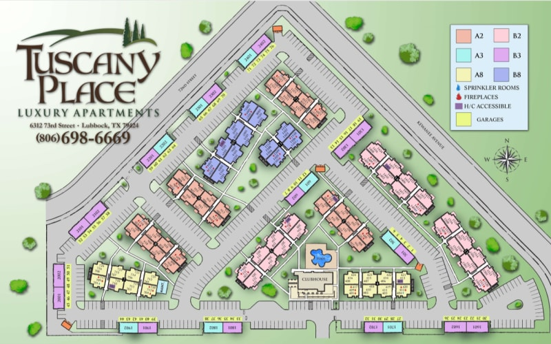 Site map for Tuscany Place in Lubbock, Texas