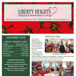 December Liberty Heights Gracious Retirement Living newsletter