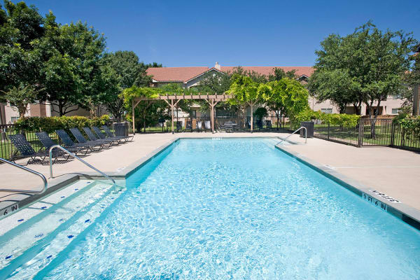 Beautiful pool at Villas of Preston Creek in Plano, Texas