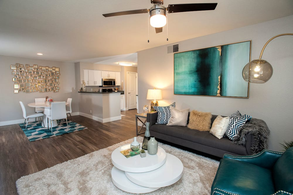 Beautiful living room at Slate Creek Apartments in Roseville, California