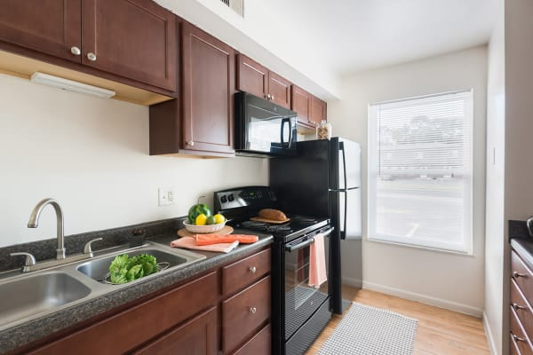 Model kitchen with black appliances at Maple Oaks Estates in Middletown