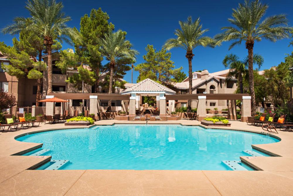 Swimming pool at The Palisades at Paradise Valley Mall in Phoenix, Arizona