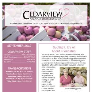 September Cedarview Gracious Retirement Living Newsletter