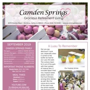 September Camden Springs Gracious Retirement Living Newsletter