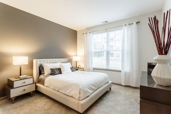A large bedroom at The Landings Apartments in Clifton Park, New York