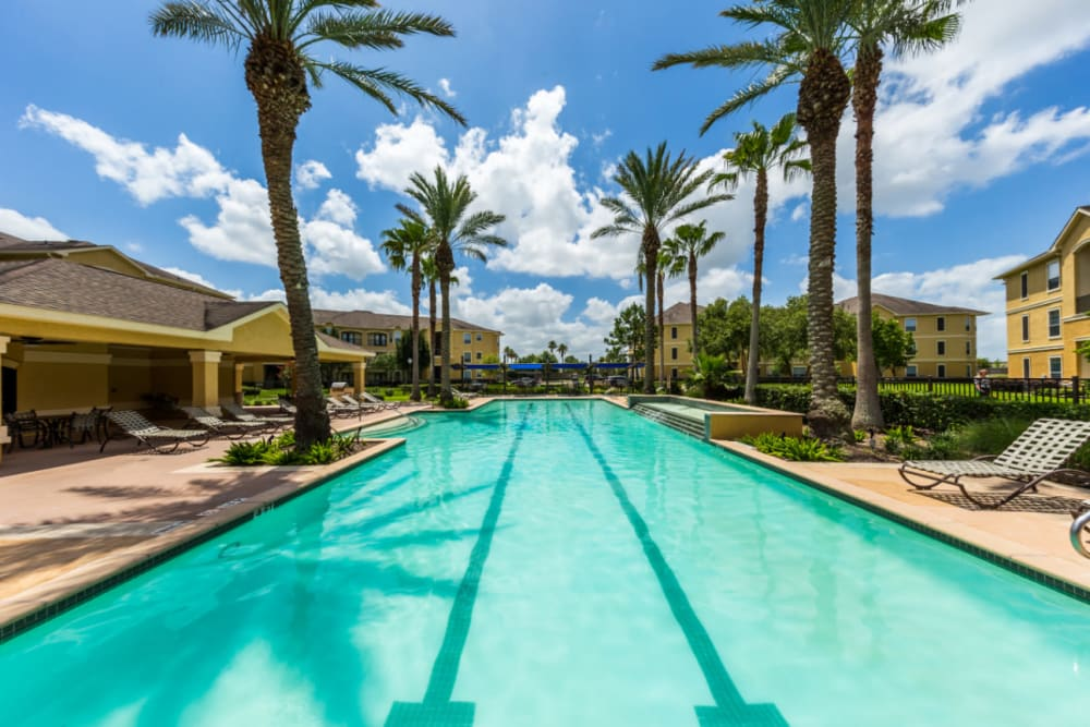 Resort style pool with swim lanes at Marquis at Clear Lake in Webster, Texas