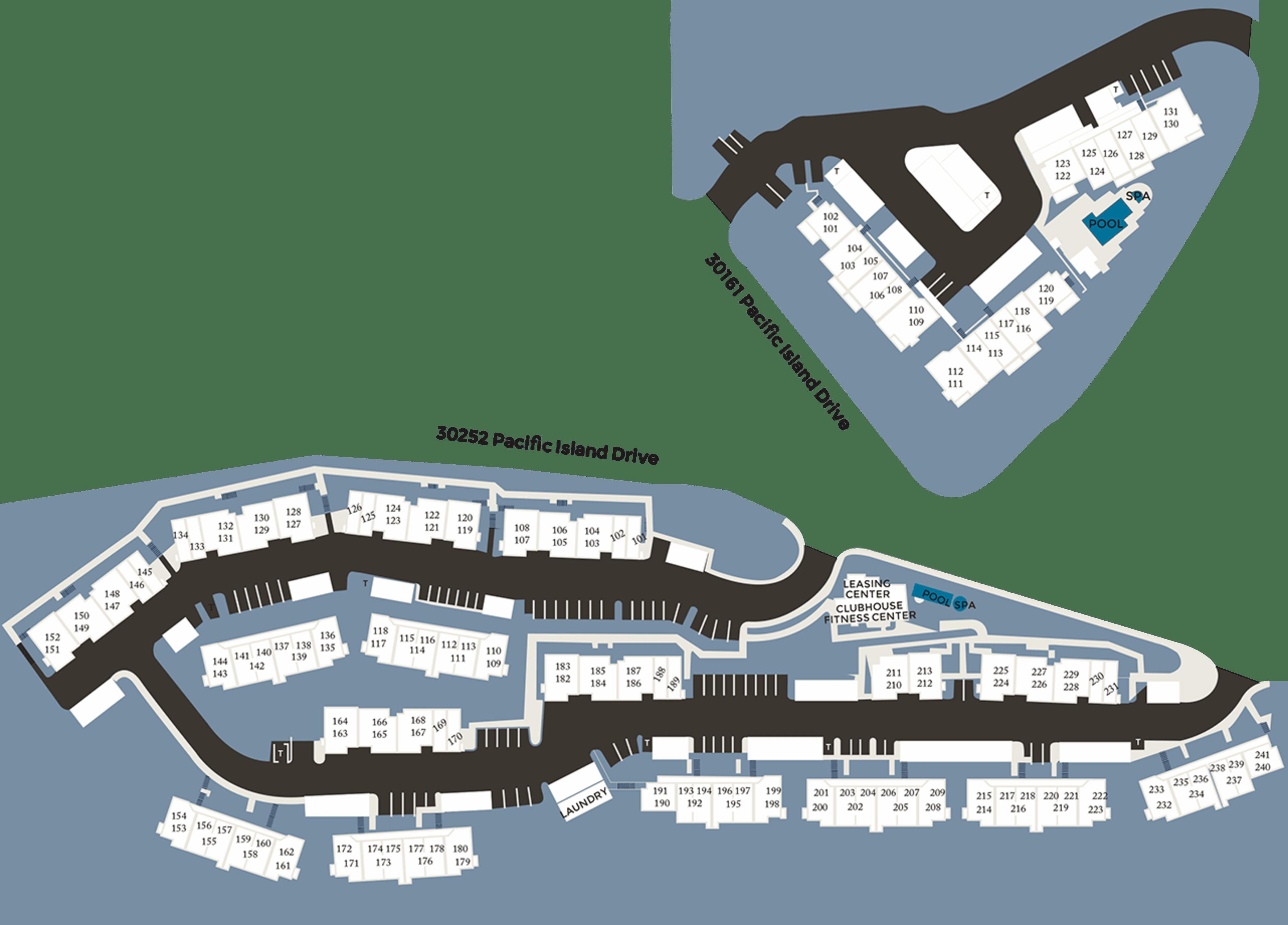 Community site map for Niguel Summit Condominium Rentals in Laguna Niguel, California